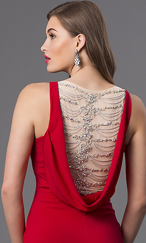 Image of Long Red Sleeveless Dress with Drape Back Style: TI-GL-DL230 Detail Image 1