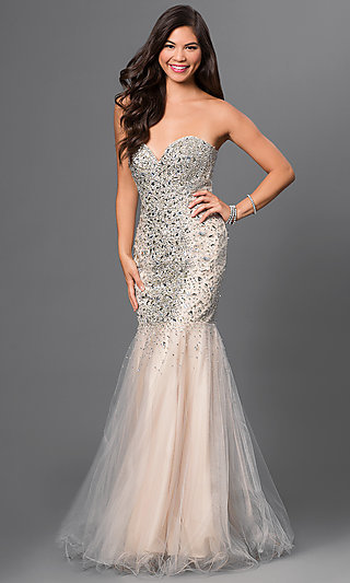 Jeweled Strapless Prom Gown by Terani