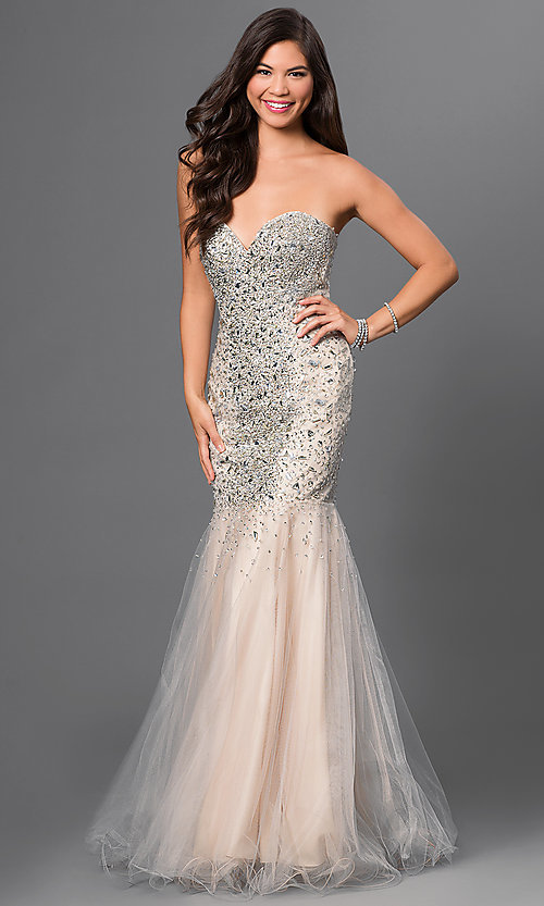 Terani Jeweled Strapless Prom Dress