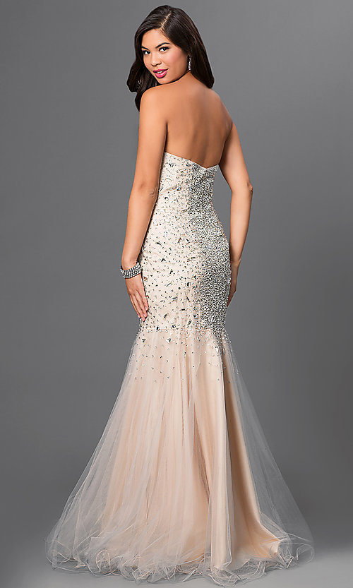 Image of Jeweled Strapless Prom Gown by Terani Style: TI-GL-DL113 Back Image
