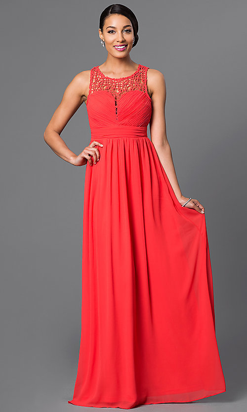 Image of Sleeveless Floor Length Lace Dress Style: LP-22297 Front Image