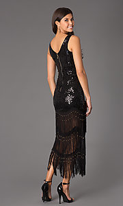 Image of sleeveless sequin top low fringe dress Style: LP-22415 Back Image