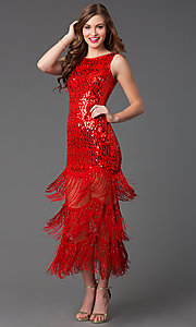 Image of sleeveless sequin top low fringe dress Style: LP-22415 Front Image