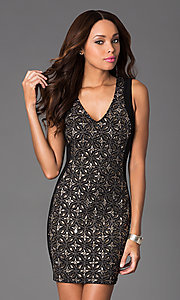 Short Sleeveless V-Neck Jewel Embellished Dress by Wow Couture