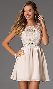 Image of lace-bodice sleeveless chiffon party dress. Style: MQ-836564 Front Image