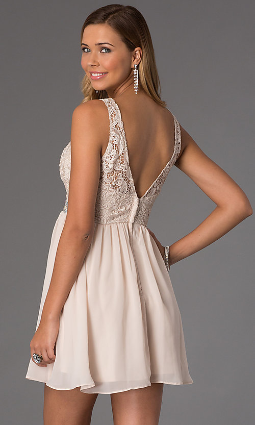 Image of lace-bodice sleeveless chiffon party dress. Style: MQ-836564 Back Image