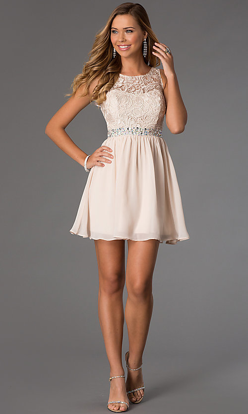 Image of lace-bodice sleeveless chiffon party dress. Style: MQ-836564 Detail Image 1