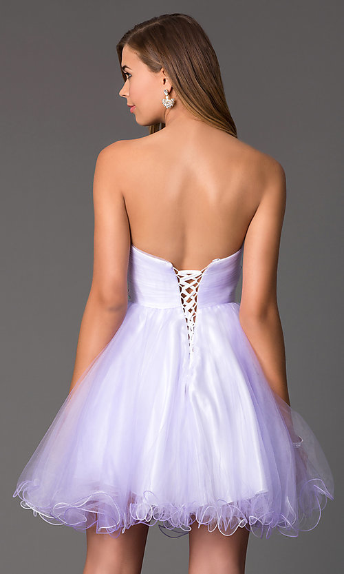 Image of Short Strapless Corset Back Prom Dress Style: HOW-DA-52340 Back Image