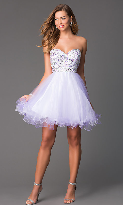 Image of Short Strapless Corset Back Prom Dress Style: HOW-DA-52340 Detail Image 1