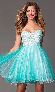 Image of short strapless sweetheart beaded bodice corset back babydoll dress Style: HOW-DA-52344 Front Image