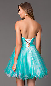 Image of short strapless sweetheart beaded bodice corset back babydoll dress Style: HOW-DA-52344 Back Image