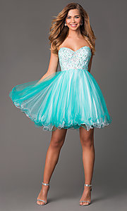 Image of short strapless sweetheart beaded bodice corset back babydoll dress Style: HOW-DA-52344 Detail Image 1