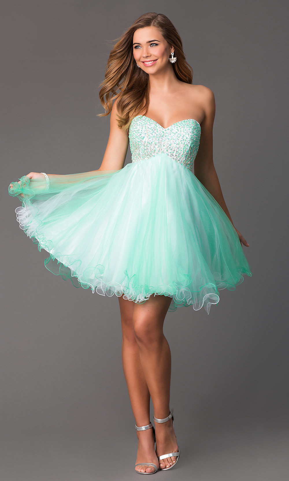 Short Strapless Sequined Prom Dress - PromGirl