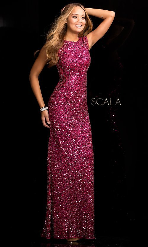 Sequin High-Neck Long Prom Dress by Scala