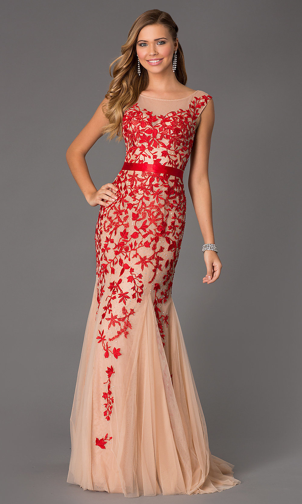Long Cap Sleeve Embroidered Prom Dress Promgirl