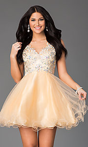 Short Sleeveless Party Dress with Illusion Bodice