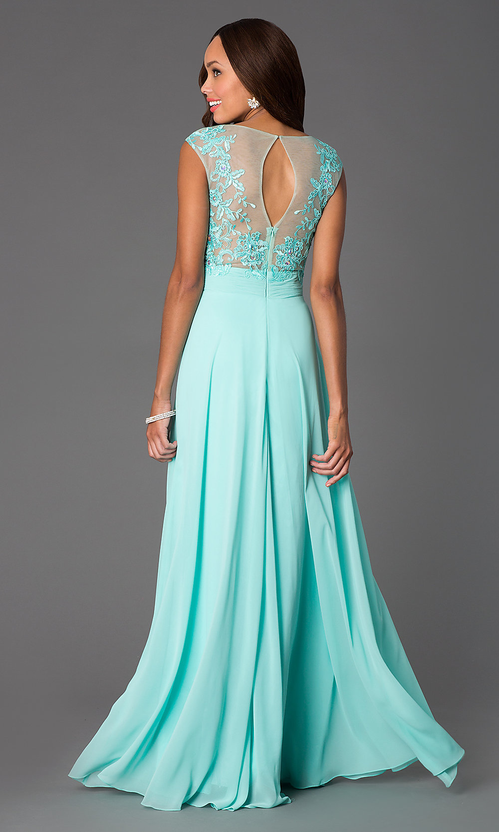 Floor Length Cap Sleeve Illusion Lace Prom Dress
