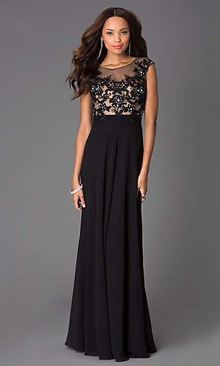 Floor Length Cap Sleeve Dress with Illusion Lace