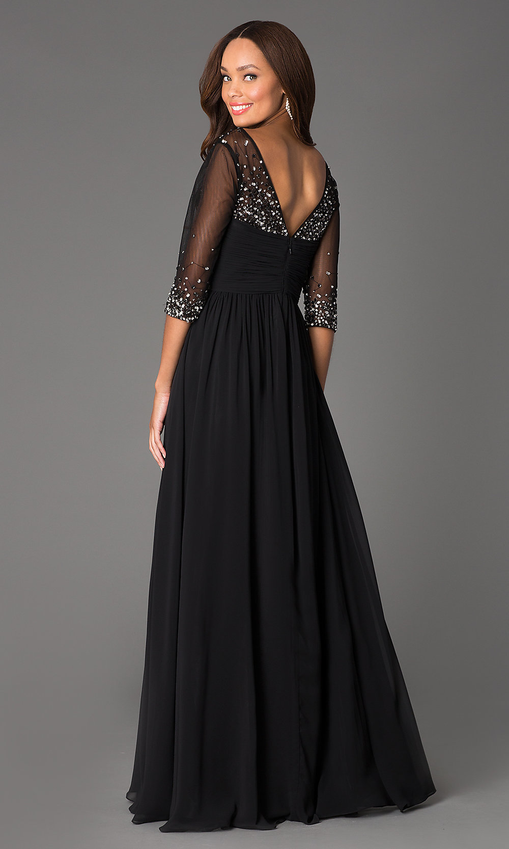 Long V-Neck Prom Dress With Sleeves - PromGirl