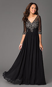 Image of floor-length v-neck dress with sheer sleeves Style: DQ-8855 Front Image
