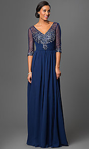 Image of floor-length v-neck dress with sheer sleeves Style: DQ-8855 Detail Image 2