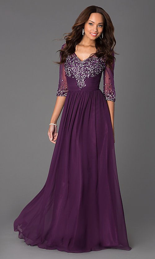 Long V Neck Prom Dress With Sleeves Promgirl