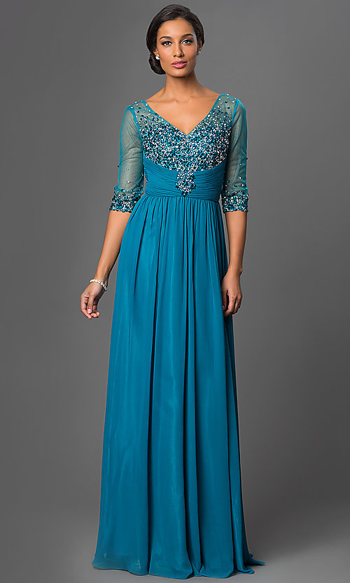 Image of floor-length v-neck dress with sheer sleeves Style: DQ-8855 Detail Image 3
