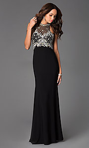 Image of Long Beaded Gown with Illusion Bodice  Style: DQ-8878 Front Image