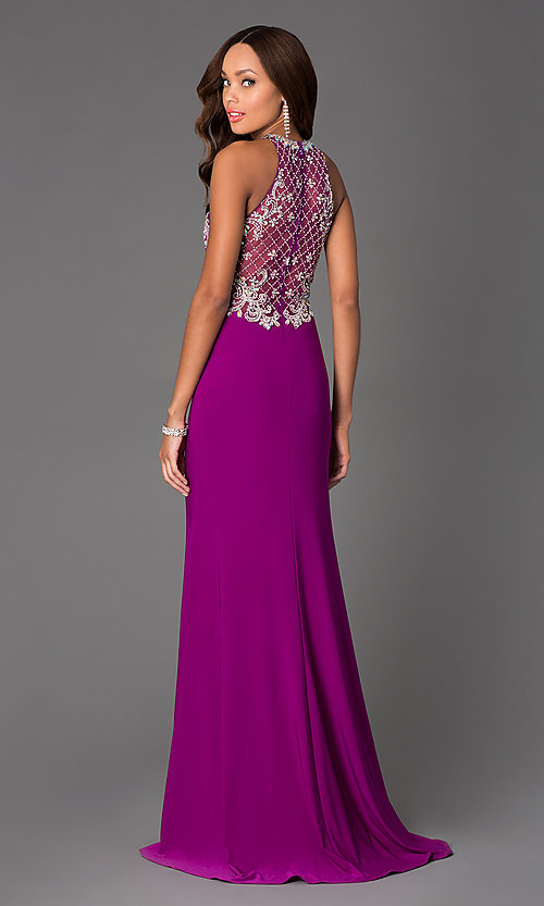 Image of Long Beaded Gown with Illusion Bodice  Style: DQ-8878 Back Image