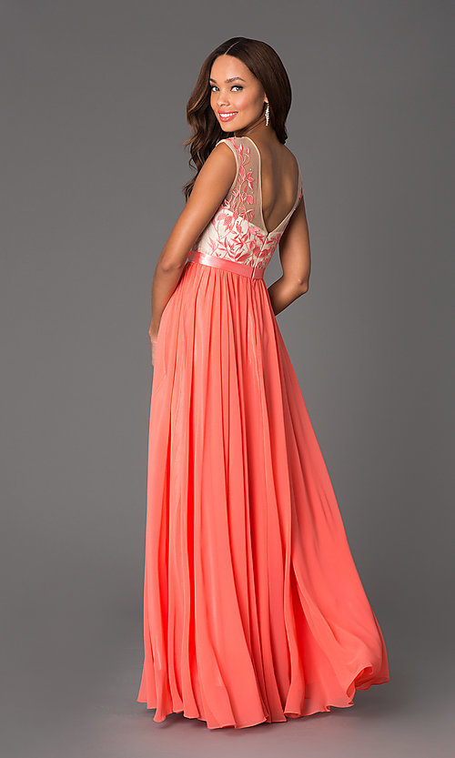 Image of Elegant Long Sleeveless Dress Style: DQ-8882 Back Image