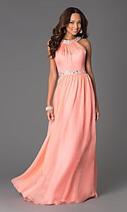 Jewel Embellished Floor Length Dress with a High Neck
