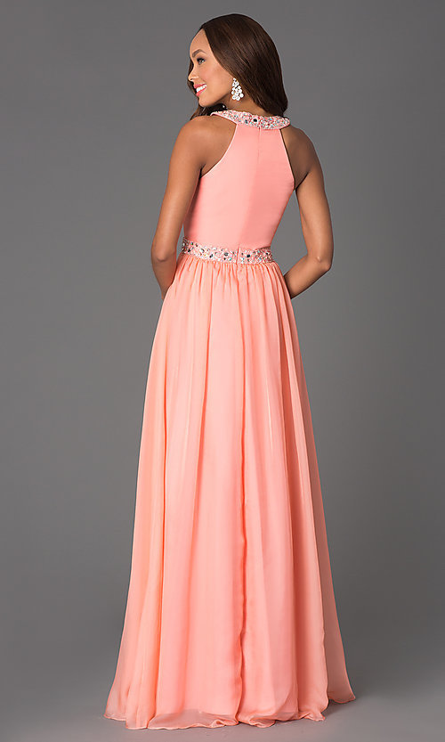 Image of long jewel embellished waist and neckline dress Style: DQ-8734 Back Image