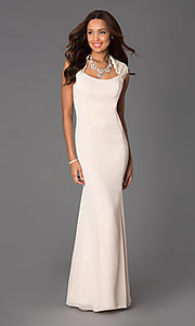 Floor Length Lace Embellished Prom Dress