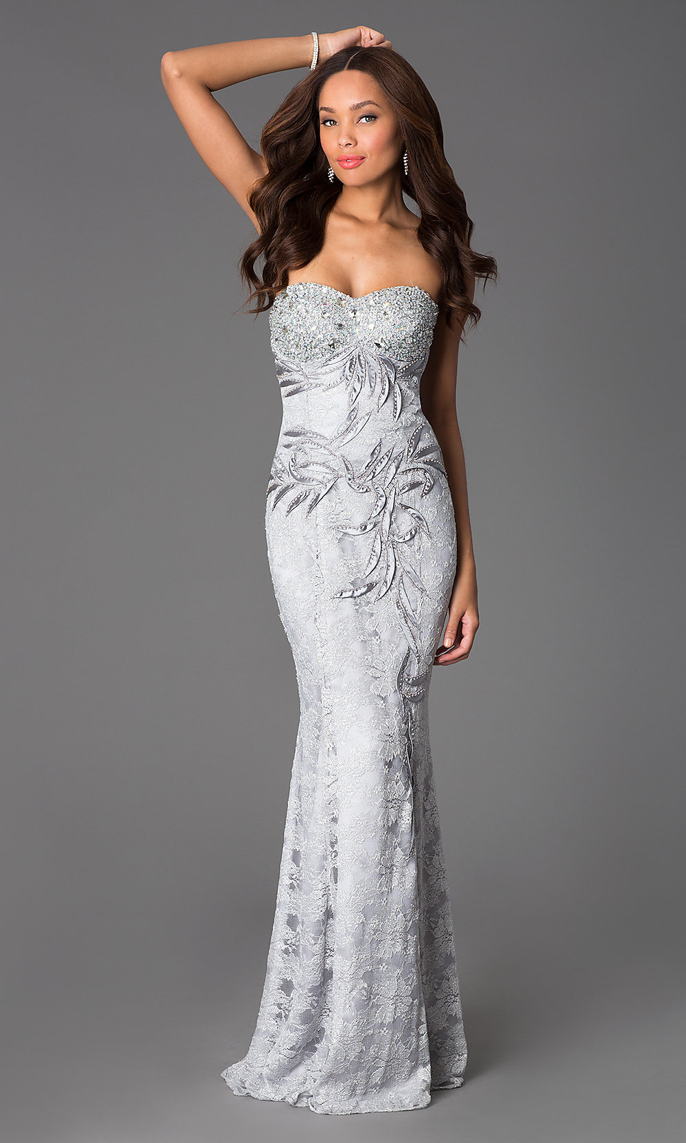 Strapless Lace Sweetheart Dress-PromGirl