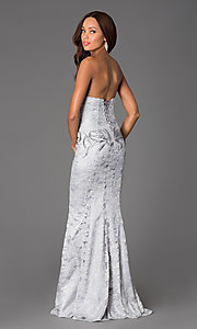 Image of floor length lace beaded sweetheart corset dress Style: DQ-8872 Back Image