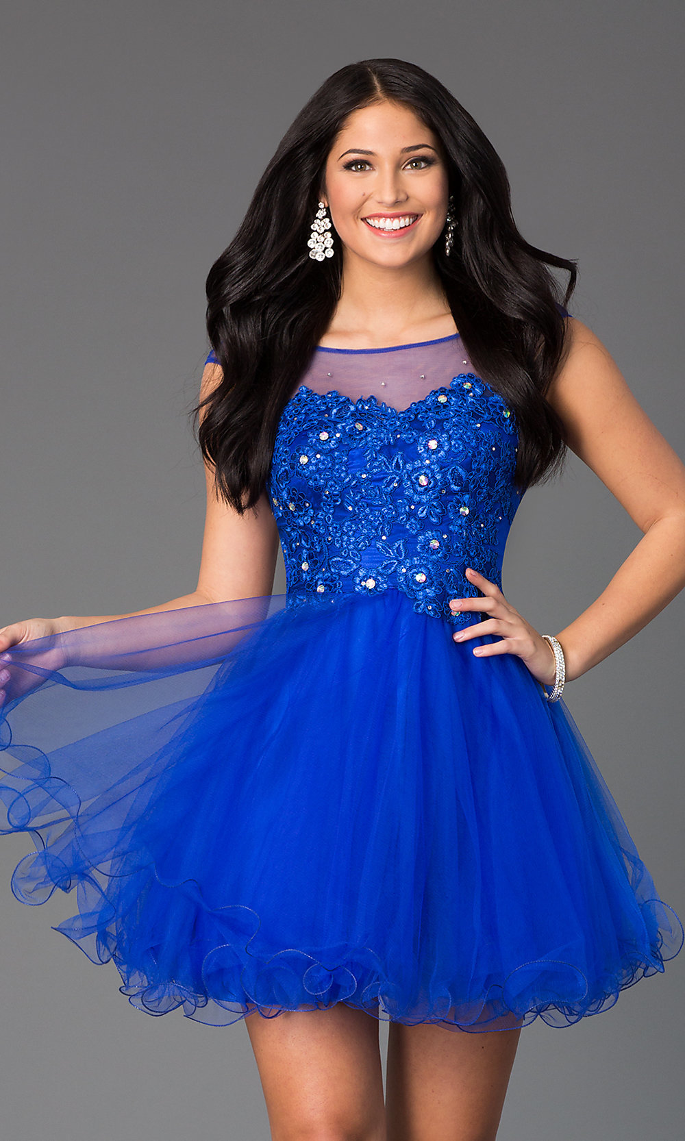Jeweled-Lace Illusion Short Prom Dress - PromGirl