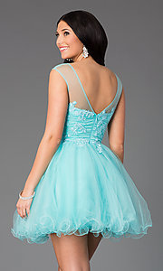Image of jeweled-lace bodice illusion short prom dress. Style: DQ-8881 Back Image