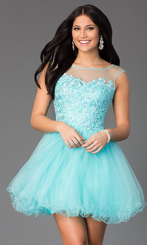 Image of jeweled-lace bodice illusion short prom dress. Style: DQ-8881 Front Image
