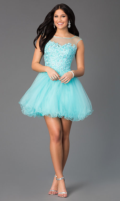 Image of jeweled-lace bodice illusion short prom dress. Style: DQ-8881 Detail Image 2