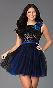 Short Sleeveless Scoop Neck Dress with Sequin Bodice
