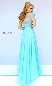Image of floor length sleeveless lace illusion bodice dress Style: SH-11269 Back Image
