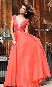 Sleeveless Lace Illusion Bodice Dress by Sherri Hill