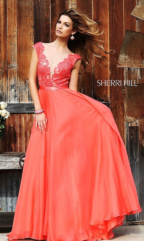 Image of floor length sleeveless lace illusion bodice dress Style: SH-11269 Front Image