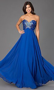 Image of Long Strapless Xcite 30527 Prom Dress  Style: XC-30527 Detail Image 1
