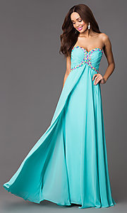 Xcite Floor Length Strapless Prom Dress