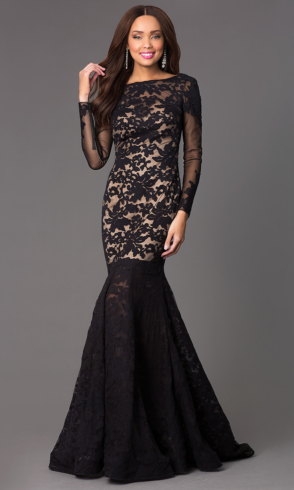 Open Back Long Lace Mermaid Prom Gown by Xtreme