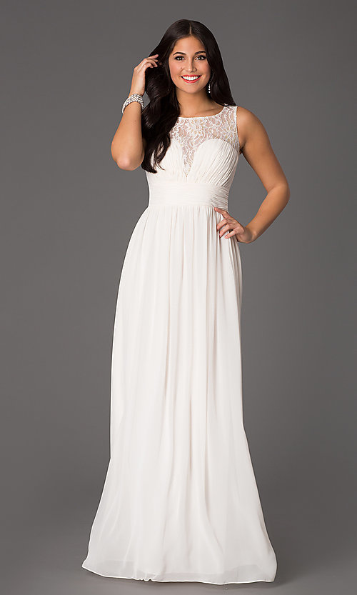 Image floor-length sleeveless lace-embellished dress. Style: NA-7126 Front Image