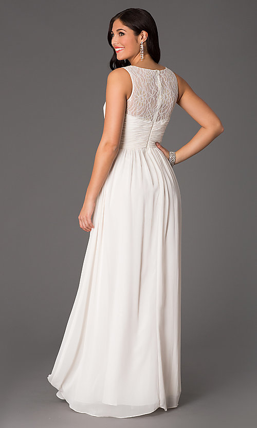 Image floor-length sleeveless lace-embellished dress. Style: NA-7126 Back Image