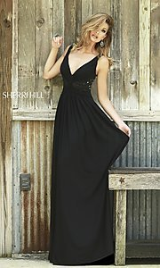 Image of black floor length dress  Style: SH-5206 Front Image