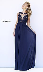 Sherri Hill High-Neck Formal Gown with Lace Top